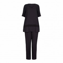 LUISA VIOLA black linen outfit - Plus Size Collection