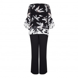 LUISA VIOLA FLORAL MONOCHROME PRINT TUNIC+TROUSER  - Plus Size Collection