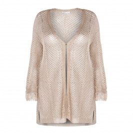 LUISA VIOLA OPEN KNIT CARDIGAN GOLD - Plus Size Collection