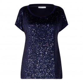 LUISA VIOLA SEQUIN T-SHIRT NAVY - Plus Size Collection