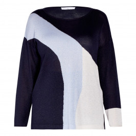 LUISA VIOLA LUREX KNITTED TUNIC BLUE - Plus Size Collection