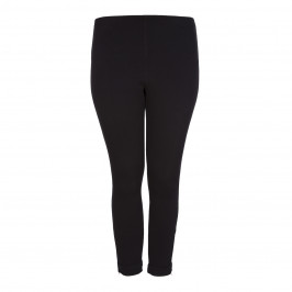 LYSSE BLACK COTTON CROPPED DENIM LEGGING WITH ANKLE ZIPS - Plus Size Collection