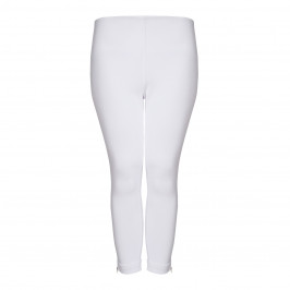 LYSSE WHITE COTTON CROPPED DENIM LEGGING WITH ANKLE ZIPS - Plus Size Collection