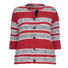 Marina Rinaldi red stripe linen CARDIGAN - Plus Size Collection