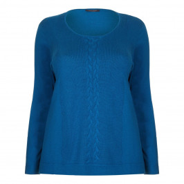 Marina Rinaldi blue cable detail SWEATER - Plus Size Collection
