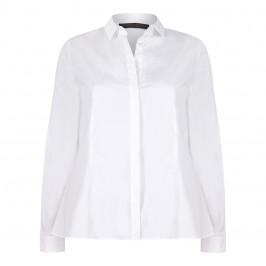 Marina Rinaldi white cotton SHIRT with optional striped ruffle - Plus Size Collection
