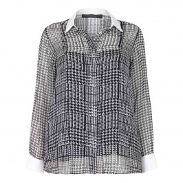 MARINA RINALDI SILK CHIFFON PRINCE OF WALES CHECK SHIRT - Plus Size Collection