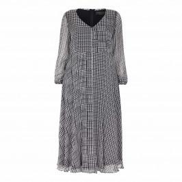 MARINA RINALDI SILK  CHIFFON PRINCE OF WALES CHECK DRESS - Plus Size Collection