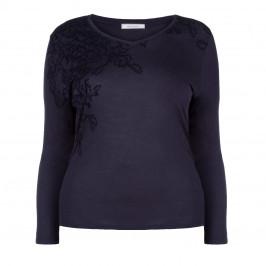 ELENA MIRO NAVY APPLIQUE TOP - Plus Size Collection