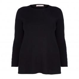 ELENA MIRO BLACK SWEATER BUTTON SLEEVE - Plus Size Collection