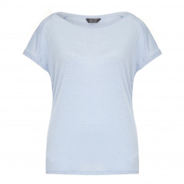MARINA RINALDI knitted linen sky blue T SHIRT with studs - Plus Size Collection