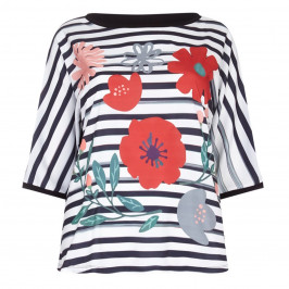 Marina Rinaldi stripe and floral print TOP