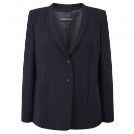 MARINA RINALDI NAVY NARROW COLLAR SUIT BLAZER - Plus Size Collection