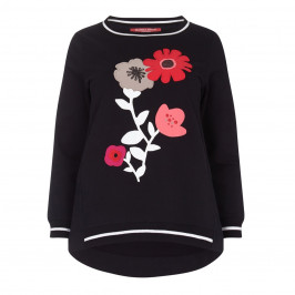 Marina Rinaldi black floral appliqué cotton SWEATER - Plus Size Collection