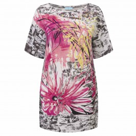 MUSETTI PINK PRINT EMBELLISHED TUNIC - Plus Size Collection