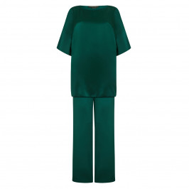 MARINA RINALDI emerald SATIN TUNIC & TROUSERS OUTFIT - Plus Size Collection