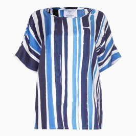Marina Rinaldi Blue Paint Stripes silk Tunic