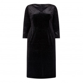 MARINA RINALDI BLACK SHIMMERING VELVET DRESS - Plus Size Collection