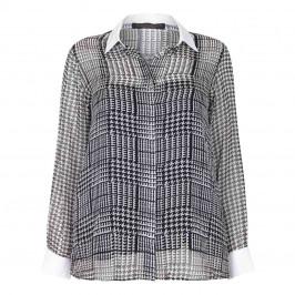 MARINA RINALDI SILK CHIFFON PRINCE OF WALES CHECK SHIRT - Plus Size Collection