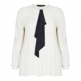 MARINA RINALDI CREAM BLOUSE WITH NAVY RUFFLE  - Plus Size Collection