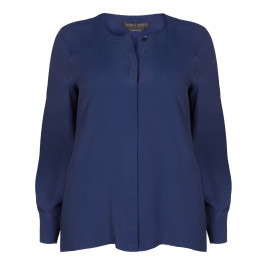 MARINA RINALDI NAVY SILK BLEND BLOUSE - Plus Size Collection