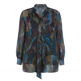 MARINA RINALDI PRINTED CHIFFON SHIRT - Plus Size Collection