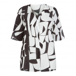 MARINA RINALDI BLACK AND WHITE PURE SILK BLOUSE - Plus Size Collection