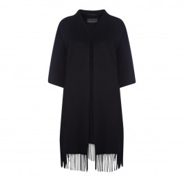 MARINA RINALDI WOOL FRINGED CAPE BLACK - Plus Size Collection