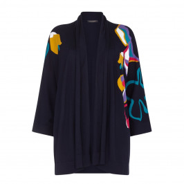 Marina Rinaldi NAVY FLORAL SILK&COTTON CARDIGAN - Plus Size Collection