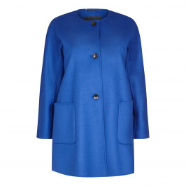 Marina Rinaldi Blue Double Wool Collarless Coat - Plus Size Collection