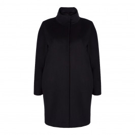 MARINA RINALDI BLACK WOOL COAT - Plus Size Collection