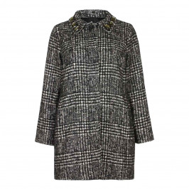 Marina Rinaldi Black Check Coat  - Plus Size Collection