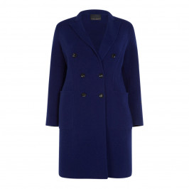 MARINA RINALDI DOUBLE SIDED WOOL COAT NAVY - Plus Size Collection