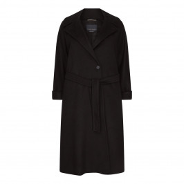 MARINA RINALDI CAMEL WOOL COAT BLACK - Plus Size Collection