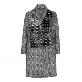MARINA RINALDI PRINCE OF WALES CHECK COAT WITH VELVET SCARF - Plus Size Collection