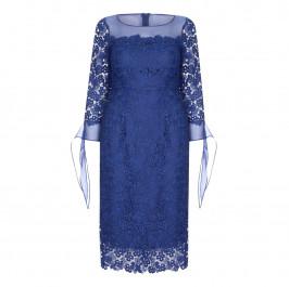 MARINA RINALDI blue LACE DRESS WITH CHIFFON CUFF - Plus Size Collection