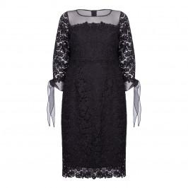 MARINA RINALDI BLACK LACE DRESS WITH CHIFFON CUFF - Plus Size Collection