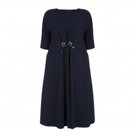 MARINA RINALDI NAVY TRIACETATE EYELET FRONT TIE DRESS - Plus Size Collection