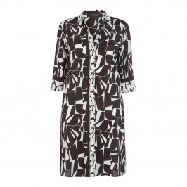MARINA RINALDI BLACK AND WHITE PRINT, PURE SILK DRESS - Plus Size Collection