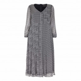 MARINA RINALDI SILK  CHIFFON PRINCE OF WALES CHECK DRESS - Plus Size Collection