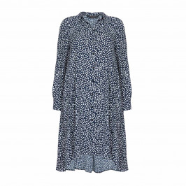 MARINA RINALDI NAVY SPOT SHIRT DRESS - Plus Size Collection