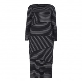 MARINA RINALDI STRIPED JERSEY DRESS WITH SLANTED TIERS - Plus Size Collection
