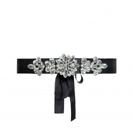 MARINA RINALDI CRYSTAL JEWEL GROSGRAIN RIBBON BELT - Plus Size Collection