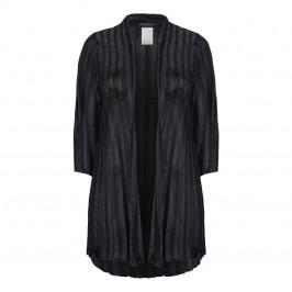 MARINA RINALDI BLACK RIB LUREX KNIT SHAWL NECK CARdIGAN - Plus Size Collection