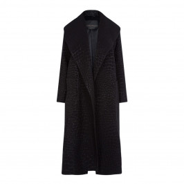 MARINA RINALDI JACQUARD COAT BLACK - Plus Size Collection