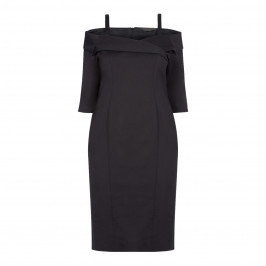 MARINA RINALDI BLACK WIGGLE DRESS WITH BARDOT NECKLINE - Plus Size Collection