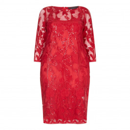Marina Rinaldi red sequinned lace DRESS - Plus Size Collection