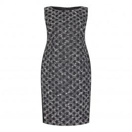 MARINA RINALDI BLACK BROCADE SHEATH DRESS WITH OPTIONAL SLEEVES - Plus Size Collection