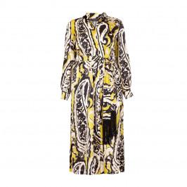 MARINA RINALDI PURE SILK PAISLEY SHIRT DRESS