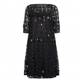 MARINA RINALDI BLACK MACRAME LACE DRESS